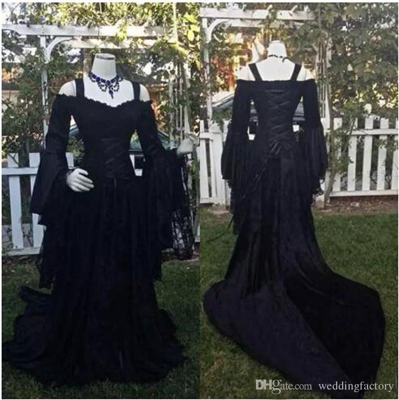 ae1ac83cdf6 Discount Vintage Black Gothic Wedding Dresses A Line Medieval Off The  Shoulder Straps Long Sleeves Corset Bridal Gowns With Court Train Custom  Made Wedding ...