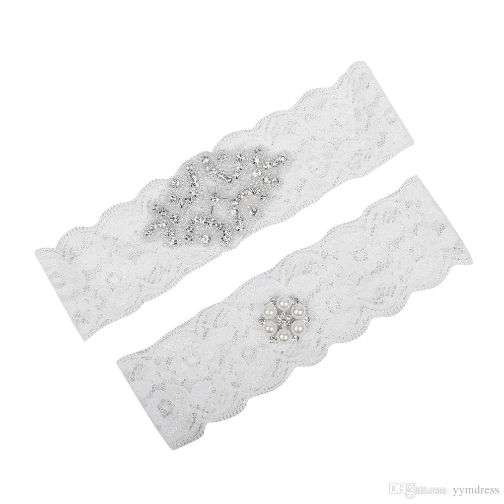 Süße Brautbein Garters Prom Strumpfband Weiße Spitze Braut Hochzeit Strumpfband 2 Stück Set Spitze Strasskristalle Perlen Auf Lager