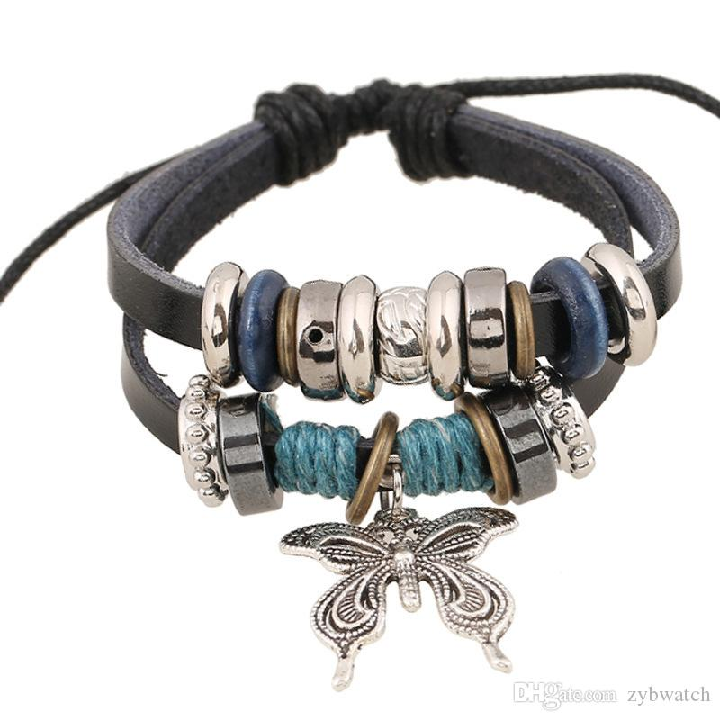multilayer bracelet 2018 Hamsa Hand Bracelets for Men Women Fashion Wristband Female Leather Bracelet Leaves Vintage Punk Men Jewelry