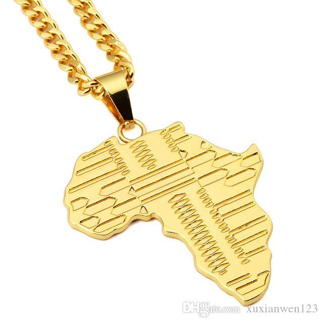África Mapa Gold Pendant Colar Com 75 centímetros de Cuba Hop Jóias Cadeia Hip Homens Mulheres Moda Bijutaria para o presente