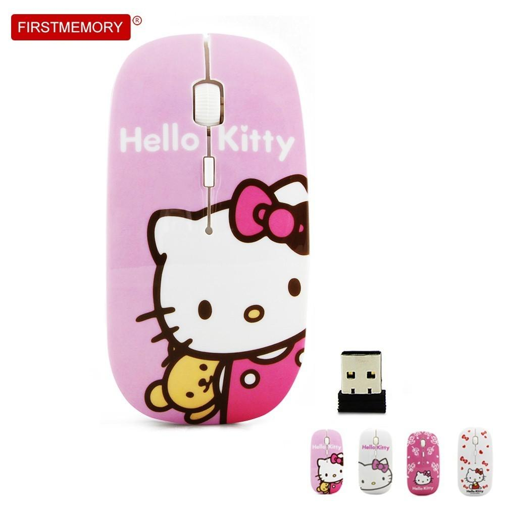 dae8daa08 2019 Ultra Thin Wireless Mouse Cartoon USB Receiver Optical Mause Hello  Kitty Mini Mice 800 1200 1600 DPI For PC Laptop For Girl Gift From Saltern,  ...