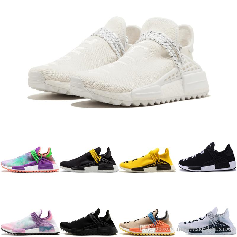 huge selection of 133e8 36a74 High quality cheap Human Race HU trail Running Shoes Men Women Pharrell  Williams Holi Blank Canvas Equality trainers man sports man sneakers