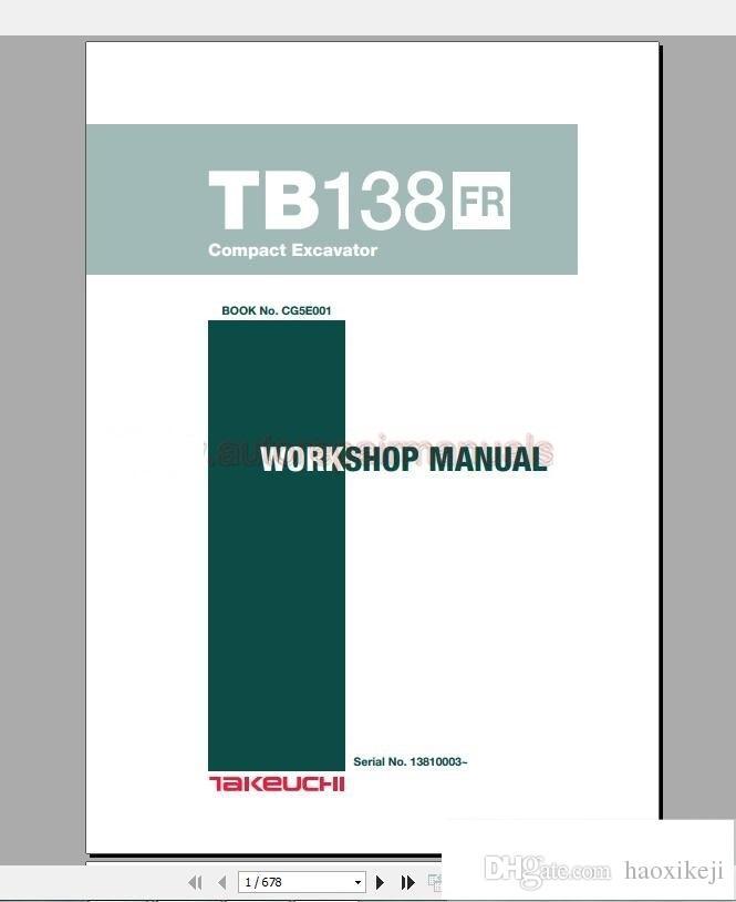 takeuchi full set service training service manual operator part rh dhgate com John Deere Excavators Takeuchi Excavator Craigslist