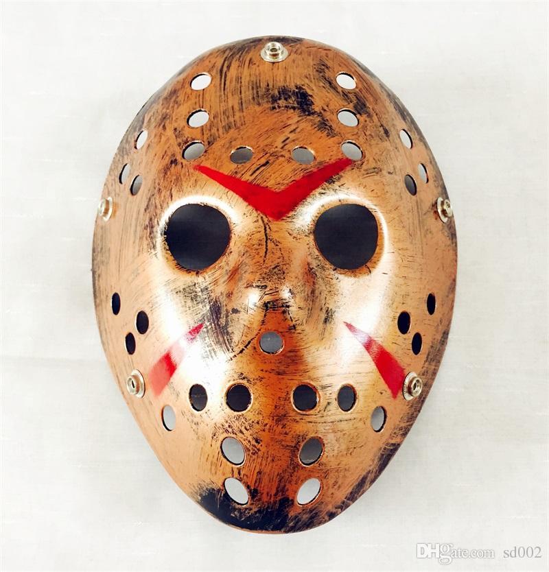 Máscaras de la mascarada retro La 13ª película de terror La máscara de Jason Skull Máscara de miedo Scary Disfraz de Halloween Cosplay Festival Decoración Atrezzo 3 7rh YY