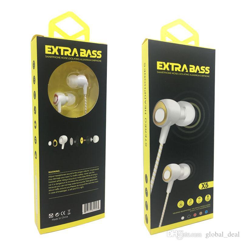 X5 3,5-мм наушники-вкладыши-наушники с микрофонной стереогарнитурой для iphon 6 samsung S7 S6 note7 8 плетеный нейлоновый кабель в оплетке