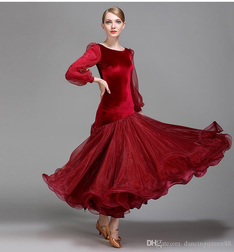 red ballroom dance competition dresses dance ballroom waltz dresses standard ballroom dancing clothes dance wear 2018
