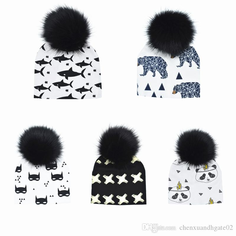 Girls' Clothing Collection Here Baby Hat Crochet Faux Fur Baby Cap Cotton Pompom Bobble Hat For Kids Winter Children Girl Boy Wool Fur Caps Childrens Hats