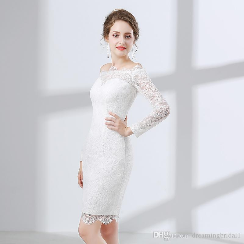 White Long Sleeve Mermaid Prom Dresses 2018 New Jewel Neck Full Lace Illusion Keen Length Formal Evening Party Gown Dress 17-6647