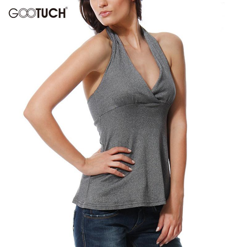 d103c7a03d5fa8 2019 Womens Sexy Halter Top Deep V Neck Sleeveless Backless Vest Bodycon  Women S Cotton Tank Tops K 7283 From Salom