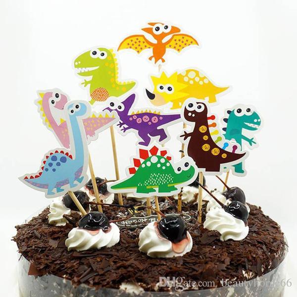 Happy Birthday Popular DIY Cake Flag Cartoon Dinosaur Cake Wrapper Birthday Party Decoration For Kids Gift