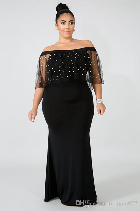 33340a995 Vestidos formales de noche más el tamaño fuera del hombro con cuentas de  malla Cabo vestidos de noche negros 3xl 4xl