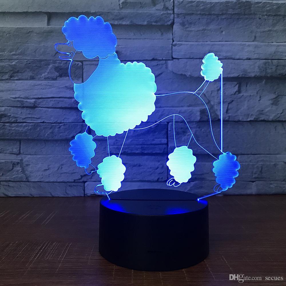 Lovely Dog Puppy 3D Illusion light Lamp 5th Battery Bin USB Powered 7 RGB Light DC 5V Wholesale