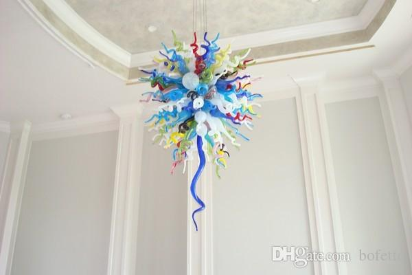 Wedding Centerpiece Chihuly Glass Crystal Ceiling Light Chinese House Deco 100% Handmade Mini Cheap Flower Chandelier