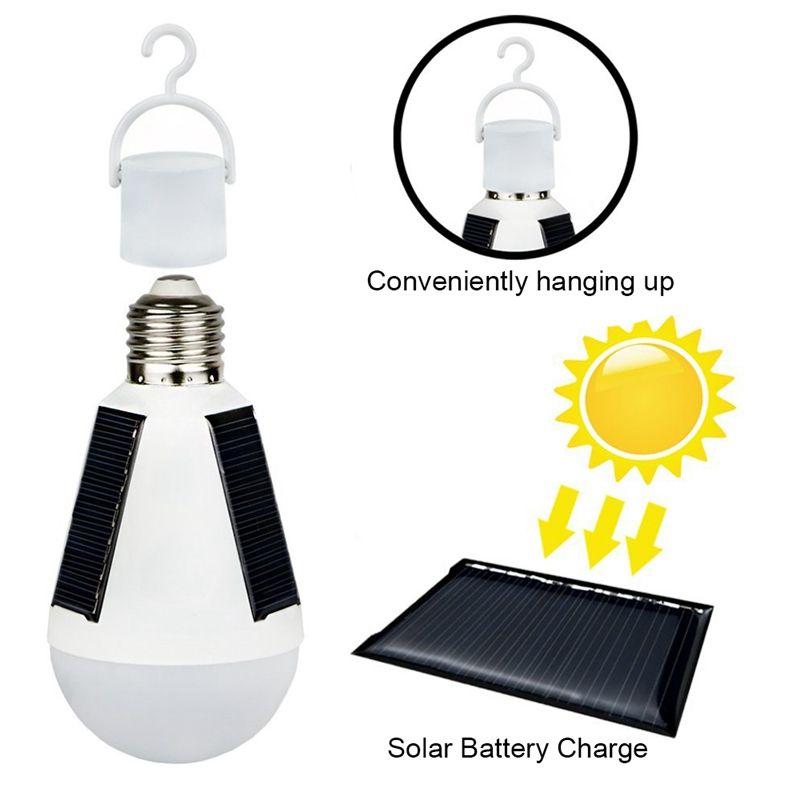 Edison2011 12W E27 매달려 태양 전구 에너지 충전식 비상 LED 전구 IP65 방수 태양 전지 패널 전원 밤 램프