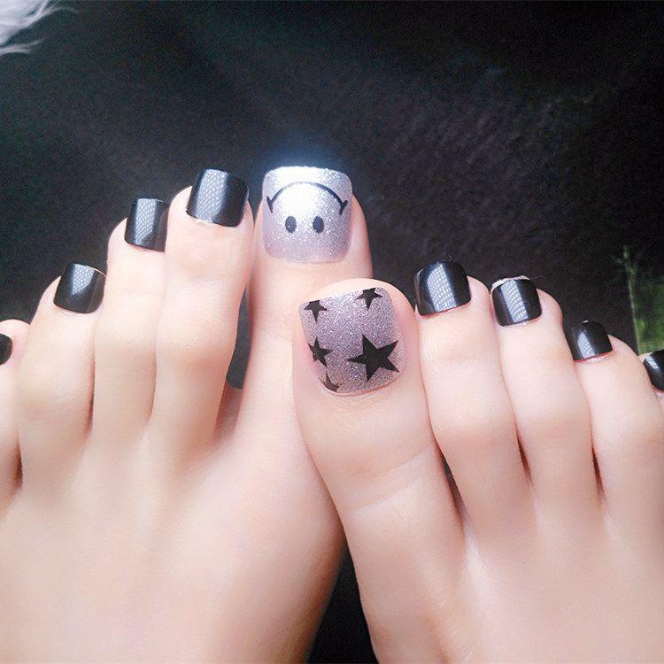 Glitter Silver False Toe Nails Black Star Acrylic Fake Toenail DIY ...