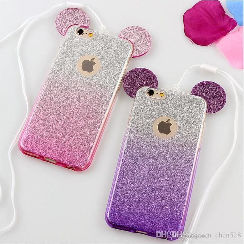 Popular 3D Mouse Ears TPU Soft Glitter Cover Case Gradual Change Color With Hang rope phone cases for iPhone x 8 5S 6 6S 6Plus 7 7plus