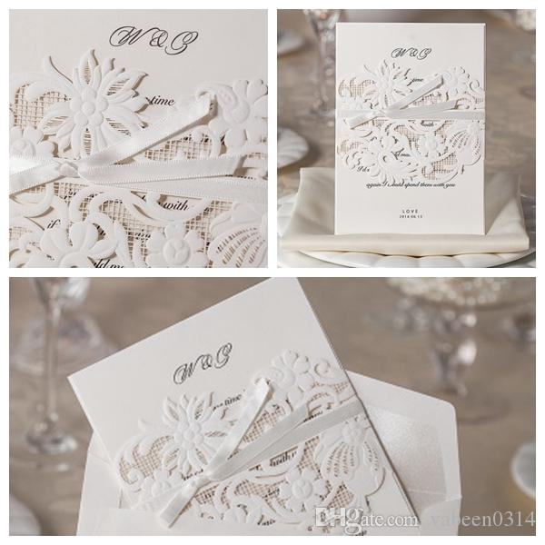 private custom high end wedding invitations white hollow new