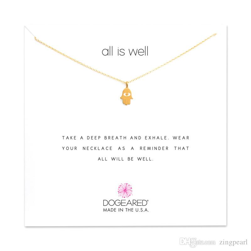 Dogeared Hamsa Choker Necklaces With Card Gold Silver Cross Pendant Necklace For Fashion Women Jewelry all is well