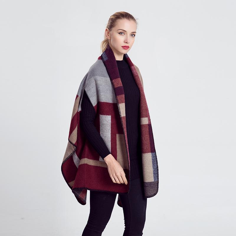 100% Acrylic Scarf Split Shawl Cachecol Pashminas for Women Infinity Cashmere Plaid Scarf Ponchos and Capes Wraps Cloak