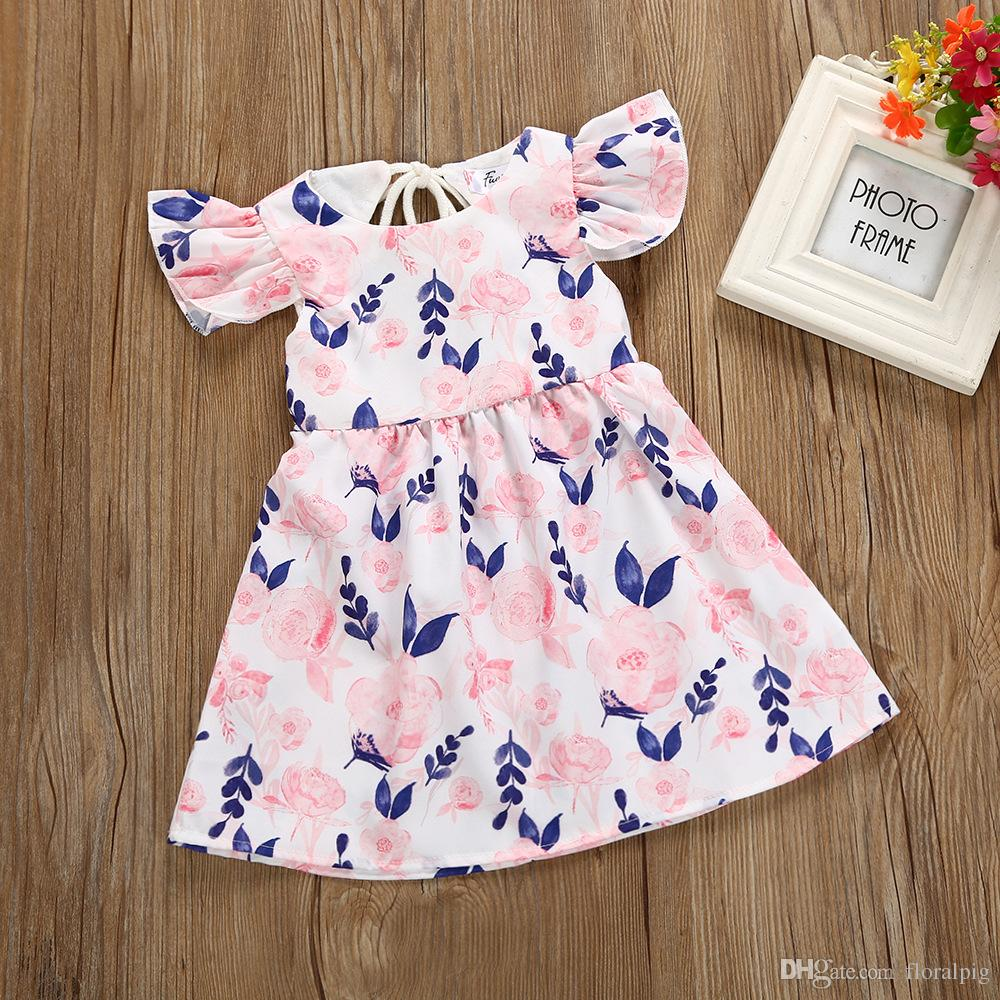 f880e9c59dbb4 2019 2018 European Style Girl Princess Dresses Small Floral Fly Sleeve Design  Baby Girl Clothes For 1 4Y From Floralpig, $43.52 | DHgate.Com