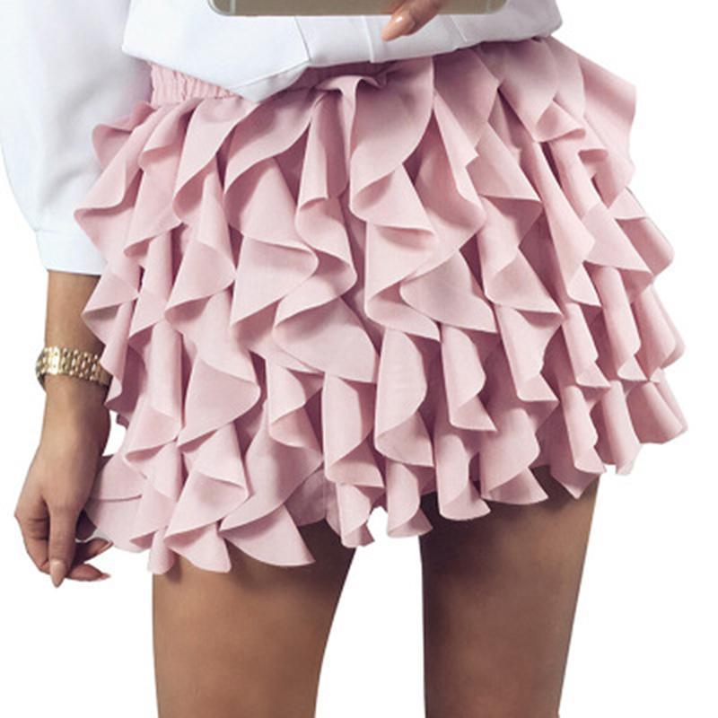 4b08982101ed4d femmes jupe plissée à volants été jupe casual casual taille haute sexy  Europe et Amérique jupe superposée