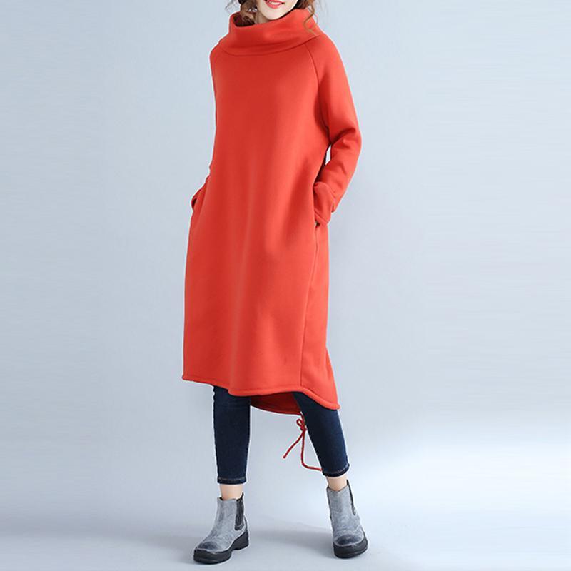 Damen Rollkragen Pullover Strickkleid Minikleid Langarm Sweater Tops Pullikleid
