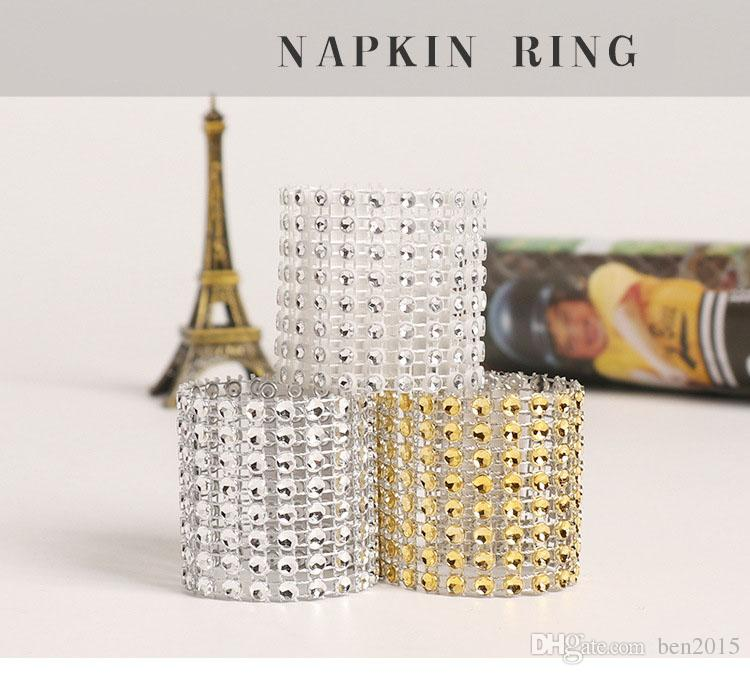 Plastic Napkin Rings Hotel Wedding /Chair Sash Diamond Mesh Wrap Napkin Rings For Party Decoration Gold/Silver/Black