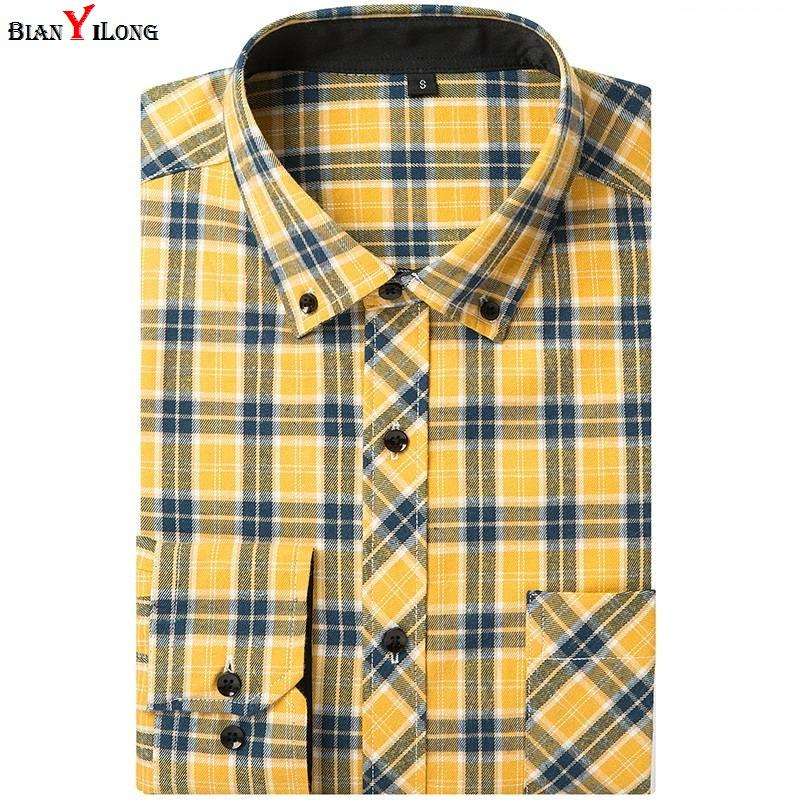 d5236e8e39 2019 Plaid Shirts Dress 100% Cotton Solid Plaid Shirt Men Spring Casual  Shirts Flannel Dress Shirt Camisa Masculina Camisa Yellow Red From  Odelettu