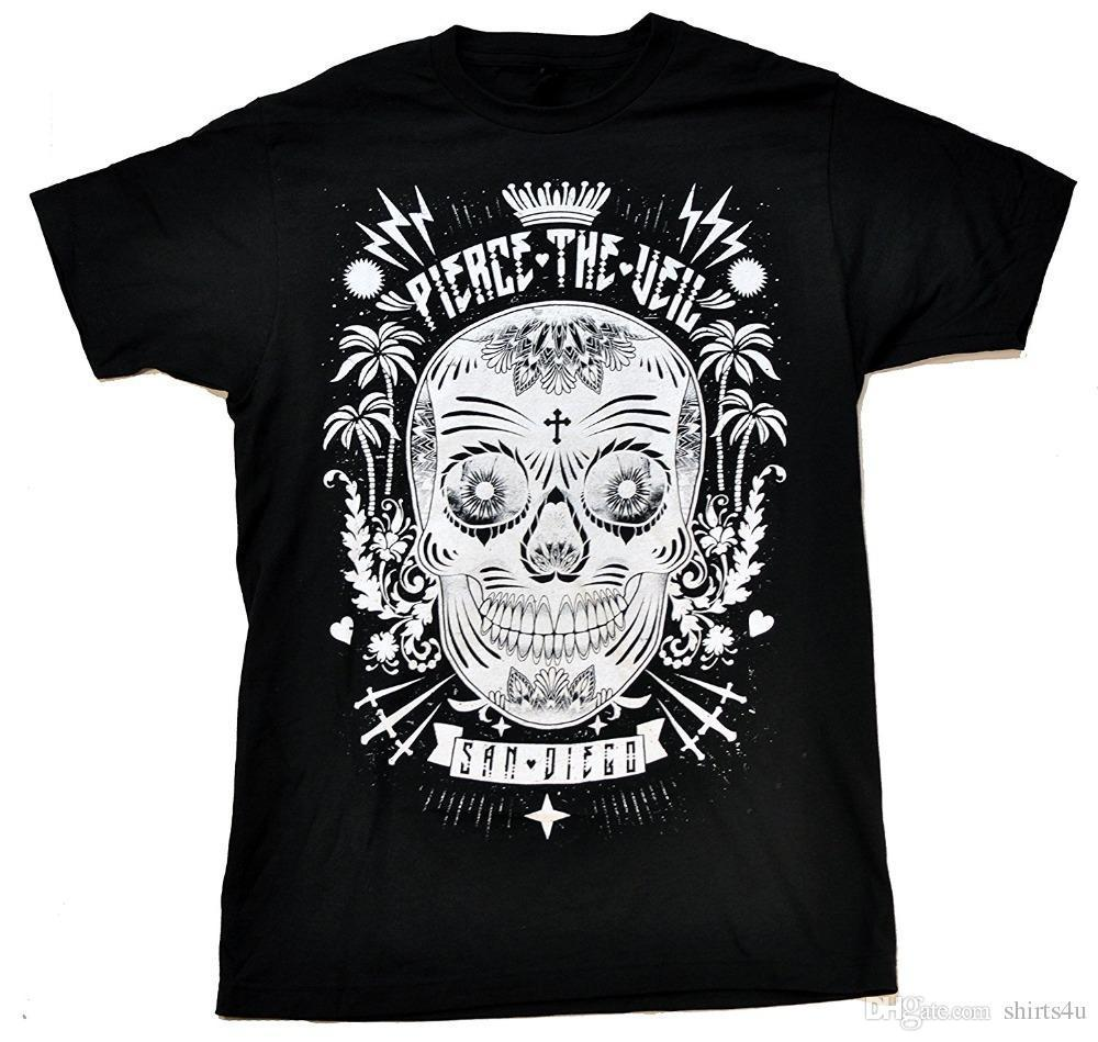 Hip Hop Tee T ShirtShort Men Sugar Skull Soft Fit T-Shirt O-Neck Tall T Shirt