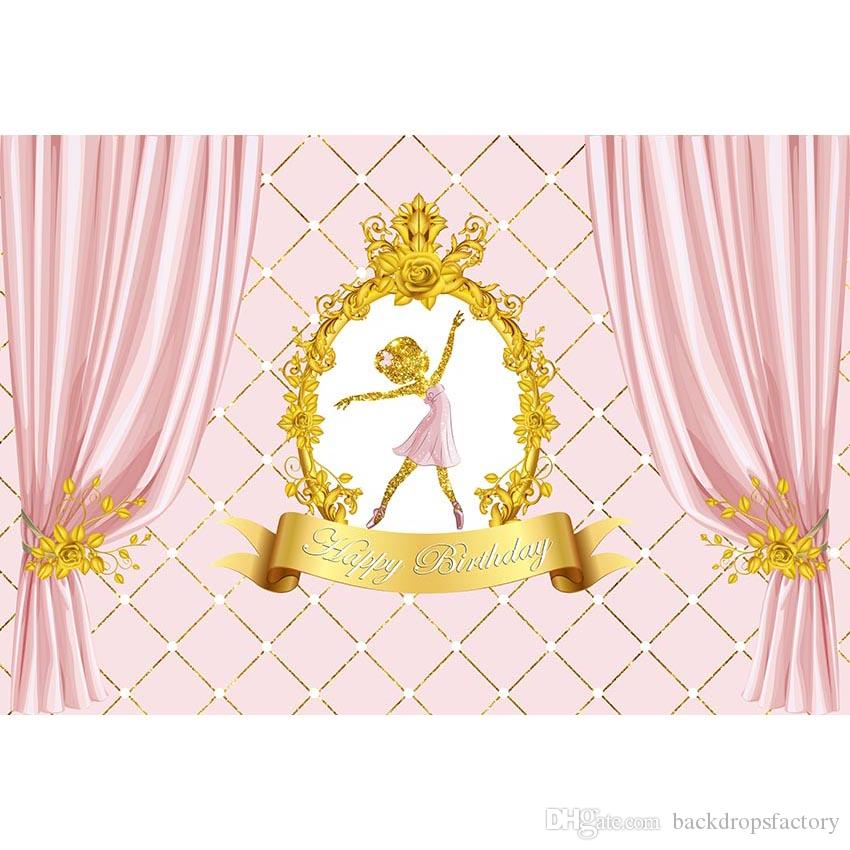 2019 Happy Birthday Backdrop Customized Printed Pink Curtains Gold