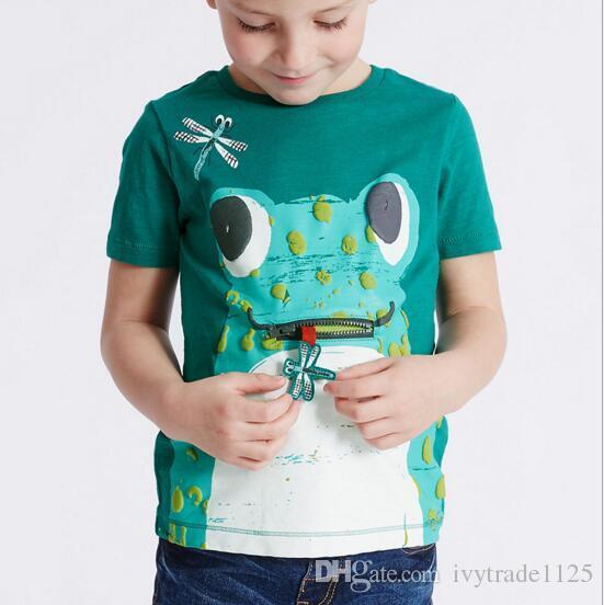 NOVA CHEGADA Meninos menina Crianças 100% Algodão de Manga Curta dos desenhos animados sapo flores pavão impressão T camisa meninos menina causal verão camiseta Navio Livre