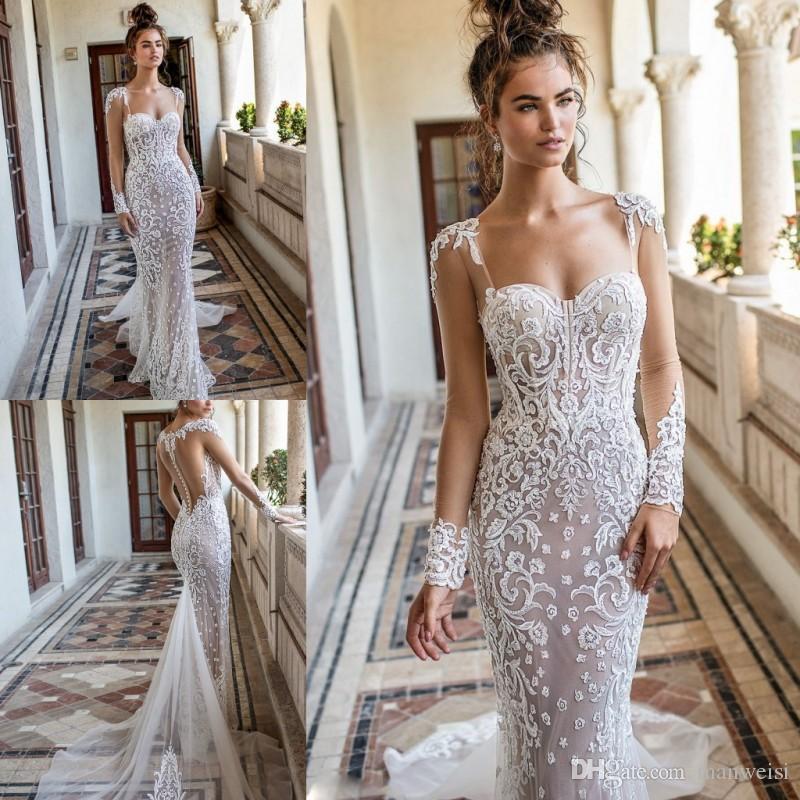 Berta Mermaid 2019 Wedding Dresses Long Sleeves Lace