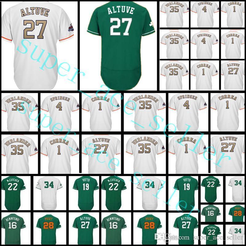 Cheap 27 Jose Altuve 35 Justin Verlander 1 Carlos Correa 4 George Springer  Majestic White 2018 Gold Program Jersey 9d126d383