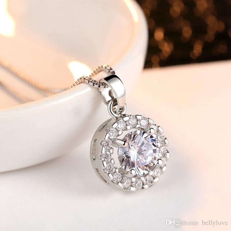 18K White Gold Plated Cubic Zircon CZ Full Paved Piercing Stud Earrings Pendant Necklace Kids Jewelry Sets for Children