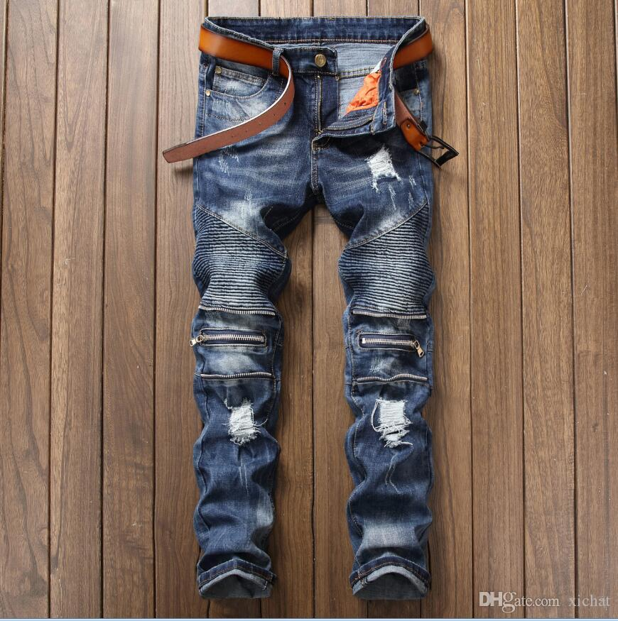 68c004d2ae78b 2019 2018 Autumn Big Size Jeans Men S Straight Leg Zip Stitch Creases Denim  Pants Casual Streight Leg Jeans Size 28 38 17005 From Xichat
