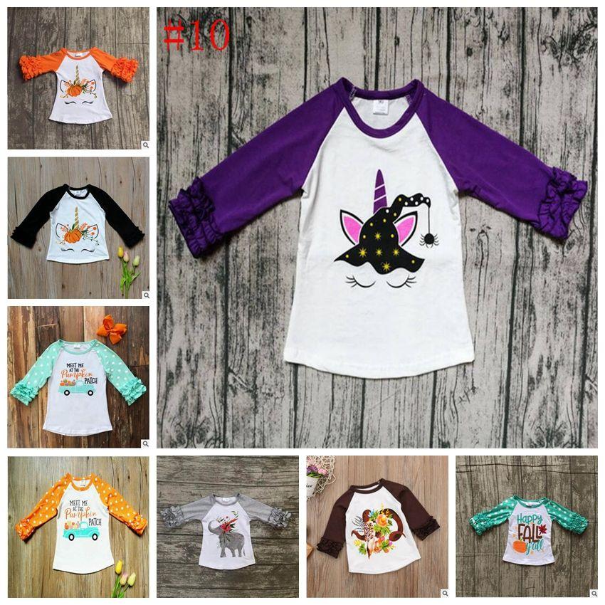 4a6755f4 2019 Xmas Unicorn Baby T Shirts Thanksgiving Day Kids Clothing Ruffled  Sleeved T Shirts Fashion Printed Tees Casual Raglan Shirt YL321 From  Bling_world, ...