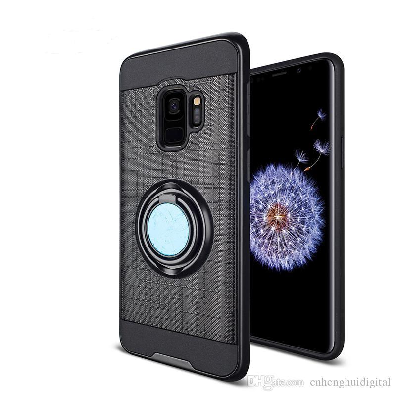 Zırh Cep Telefonu Kılıfı TPU PC Manyetik Emme Braketi Samsung Galaxy S9 S9 Artı Not 8 Vaka Kapak 360 Derece Tutucu Bir