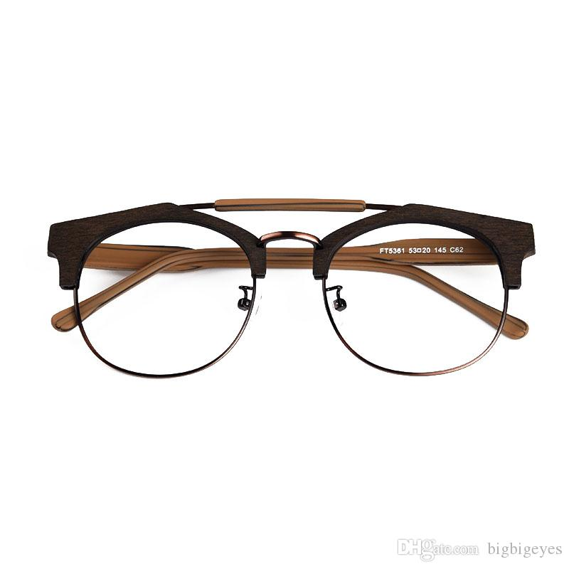 Double Beam Myopia Imitation Wood Made Spectacle Frame For Double ...