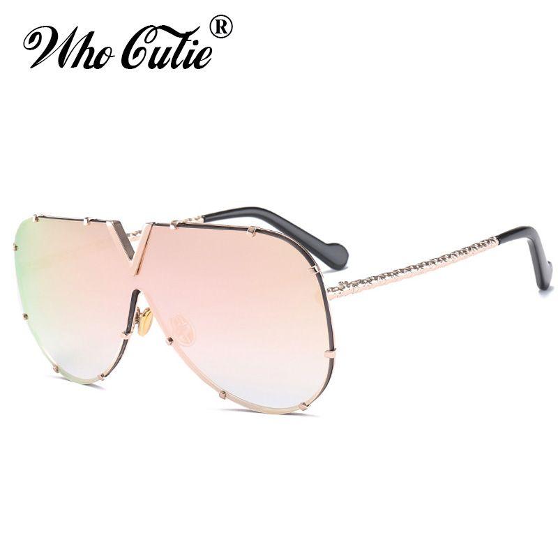 6ca4d06e4a WHO CUTIE 2018 Oversized Pink Sunglasses Men Women Brand Designer Clear  Lens Rimless 90S Sun Glasses Shades Oculos OM526 Mirrored Sunglasses Heart  ...