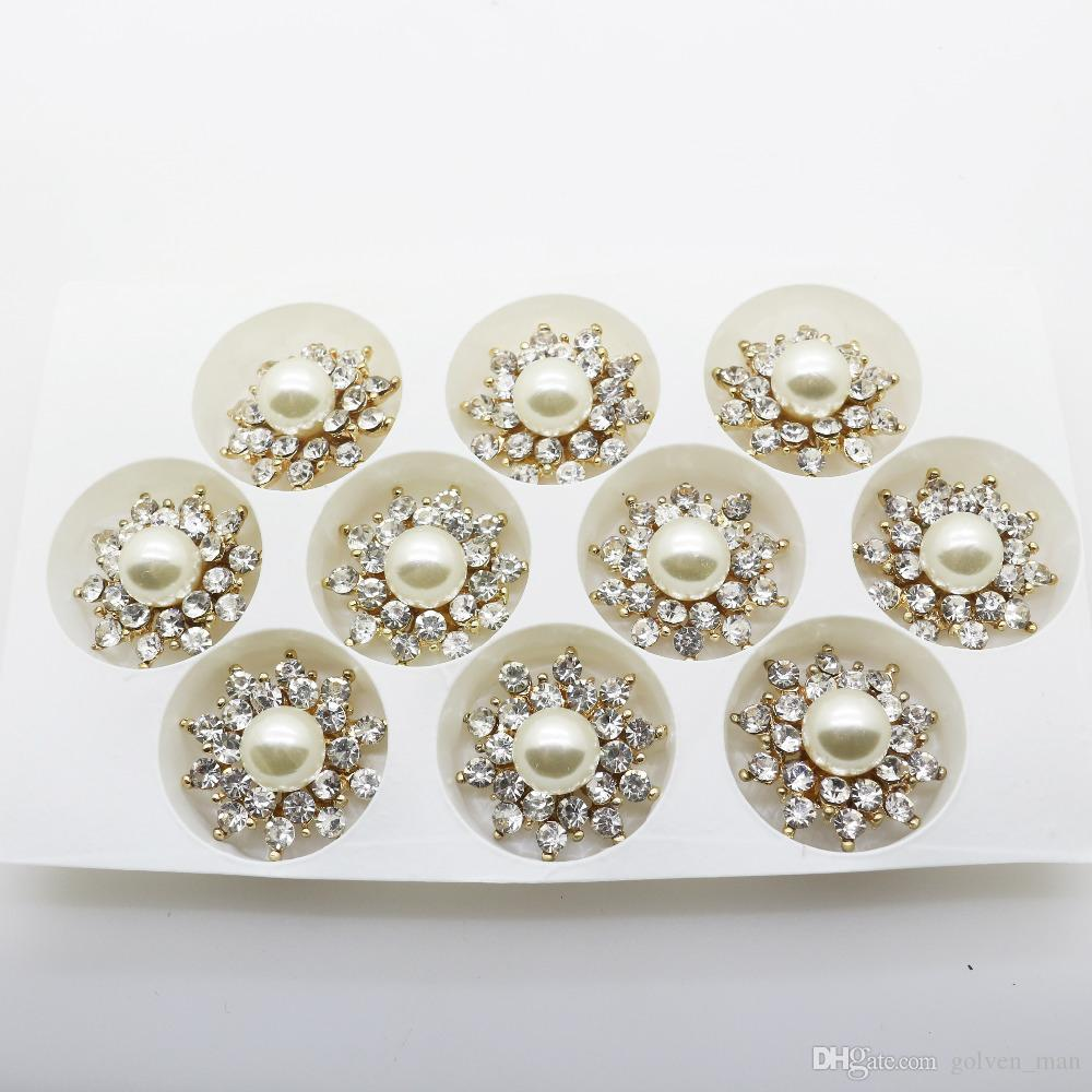 20 pcs/lot 1.02 in Rhinestone Pearl Metal Button Diamond Flatback Embellishment for Women Clothing Wedding Hair Craft Decoration