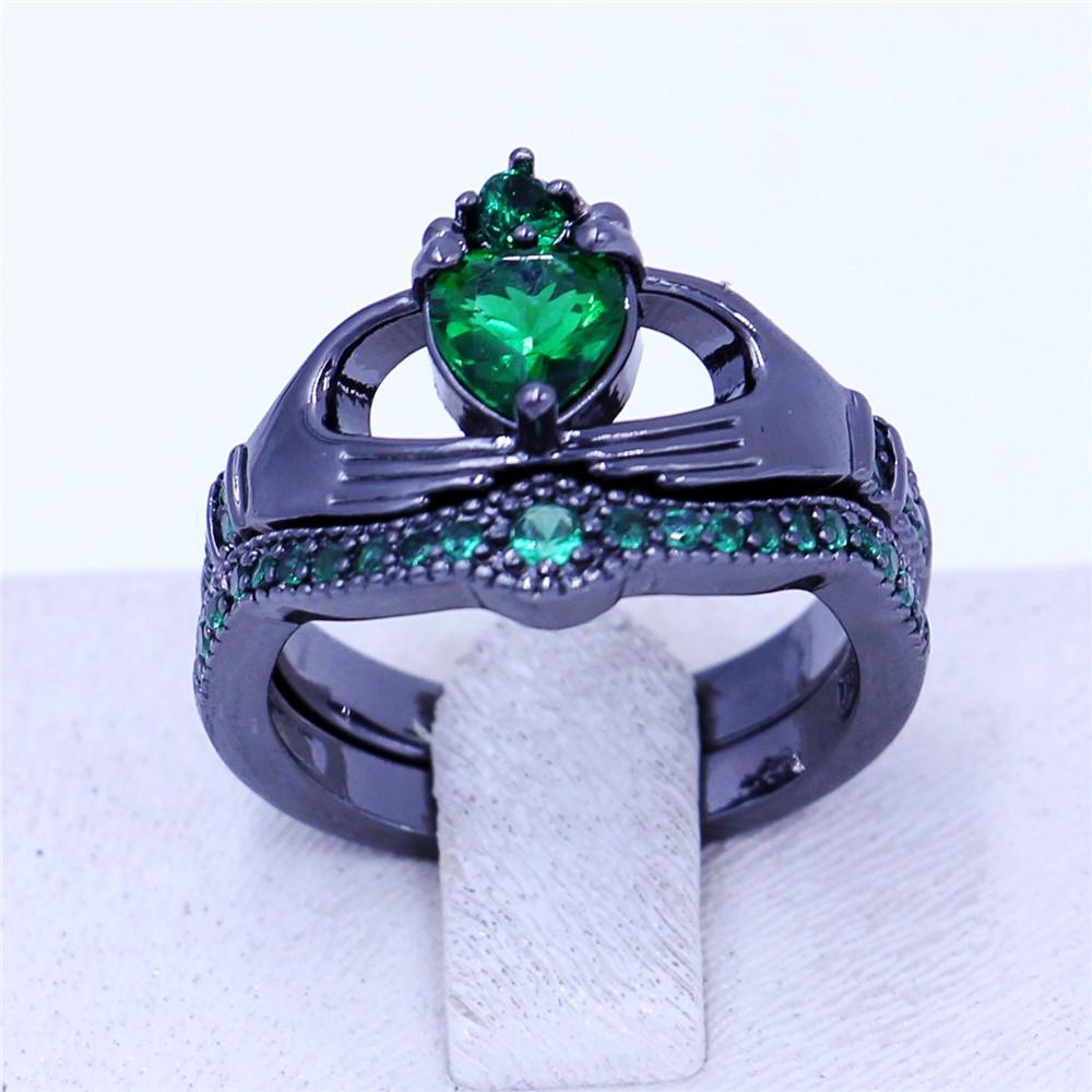 New claddagh ring Birthstone Jewelry Set anelli da sposa donna Verde 5A Zircon Cz Black Gold Filled Anello festa femminile