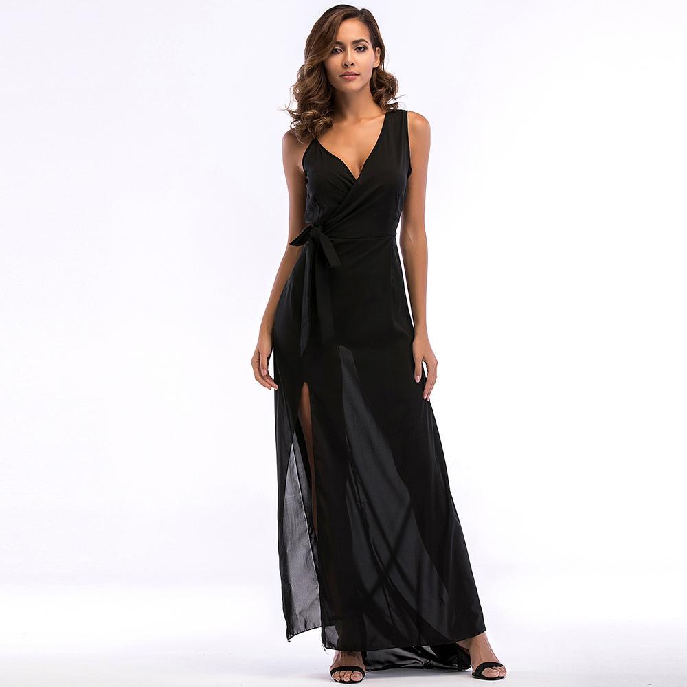 8481a70a9f 2019 Summer Autumn Women Sexy Elegant Black Solid Casual Chiffon Dress  European Style Empire Waist V Neck Floor Length Long Dresses From Matilian,  ...