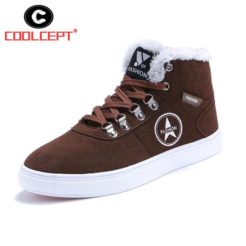 683c408a7de1 Coolcept Classic Men Ankle Boots Lace Up Flats Thick Fur Snow Boots Warm  Winter Shoes Men Outdoor High Top Footwear Size 39 44 Wedge Shoes Boots  Online From ...