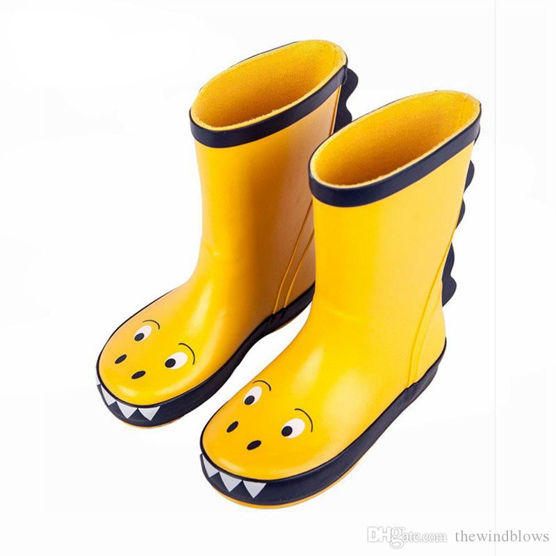 size 40 43d4d d4a0d Kinder Regen Stiefel Junge Mädchen Regen Gummistiefel Kinder wasserdichte  Schuhe Baby Tollder Kinder Regen Dinosaurier Schuhe Grün Größe