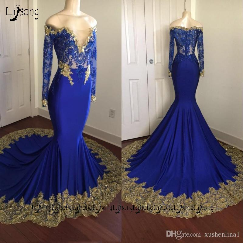 652c0c3082d4 Sexual Royal Blue Gold Lace Prom Maxi Gown Sheer Party Wear Long Dress Full Sleeves  Dark Skin Homecoming Off Shoulder Mermaid Maxi Dresses Long Formal ...
