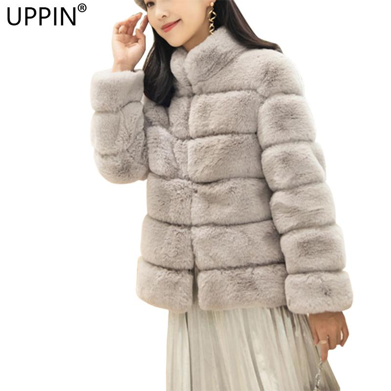290c3eb3638 2019 UPPIN S 4XL Thick Warm Furry Women Rabbit Fur Coat Elegant Solid Stand  Collar Female Ladies Jacket Pink Faux Fur Coat Women 2018 D18110901 From ...