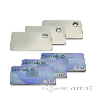 Metal credit card pipe for click n vape bracelet smoking pipe for tobacco sneak a toke grinder Dry herb oil burner metal tobacco pipe