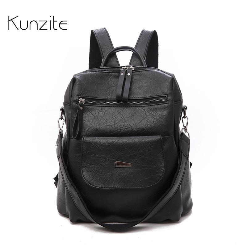 d63ec42be38e Leather Backpack Bags for Women 2018 Ladies Large Capacity Laptop ...