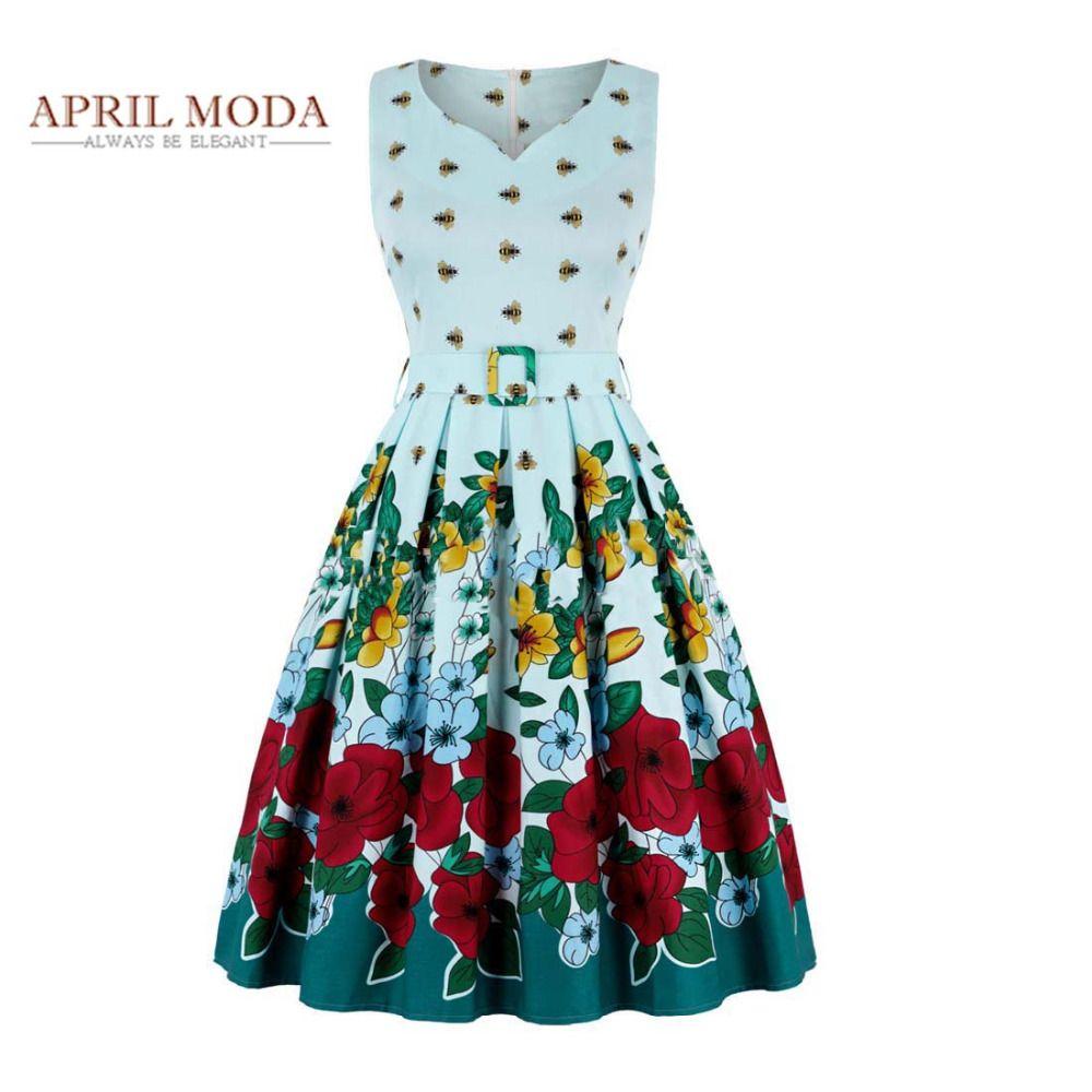 50s Vintage Rockabilly Dress 2018 V Neck Floral Printed Sleeveless ...