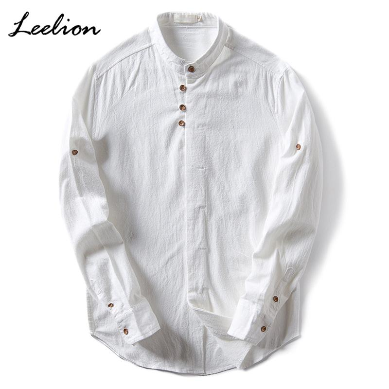 LeeLion 2017 Pure Linen Shirt Men Mandarin Collar Long Sleeve Casual Slim Fit Vintage Men's Shirts Camisa Masculina Plus Size